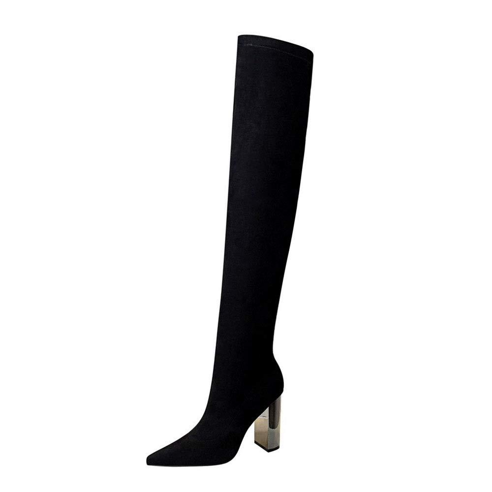 Sakuldes Damen-Overknee-Stiefel aus Wildleder mit hohem Absatz (Farbe   schwarz Größe   38)