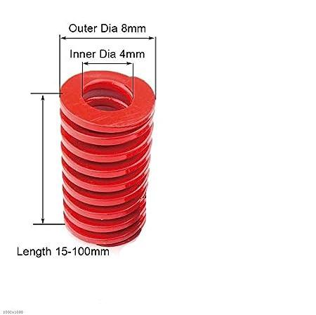 tama/ño : 18 x 9 x 55mm 1pcs Rojo Medio Carga de compresi/ón del Muelle Externo 18 mm Di/ámetro Di/ámetro Interior 9mm Cargando Die Mold Longitud del Resorte 20-65mm NO LOGO F-Jiujin