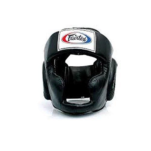 (Fairtex Headgear Head Guard Super Sparring HG3, HG10, HG13 Diagonal Vision for Muay Thai, Boxing, Kickboxing (HG3 Black,L))