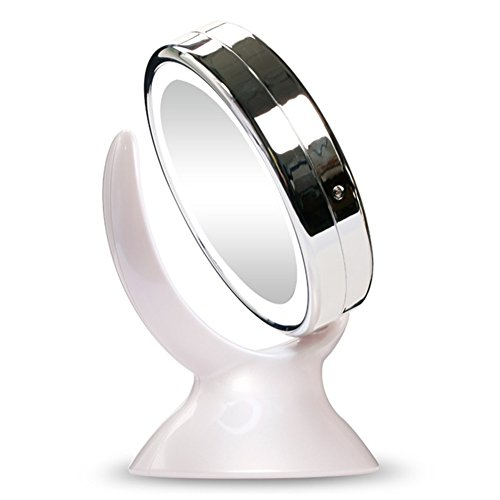 JOYJULY 360 Degree Rotary Round Double Side Desktop Lighted 1X 5X Magnifying LED Lighted Desktop Makeup Mirror