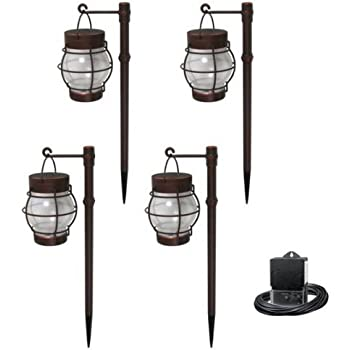 Malibu Daybreak 4 Pack LED Pathway Light Kit. Outdoor Night Lights Perfect for Lighting Garden, Yard, Deck, Driveway, or Fence. High Quality Lamps that are Easy to Install.