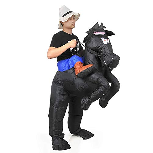 RHYTHMARTS Inflatable Horse Costume Adult Halloveen Costumes Funny Suits Riding Shoulder Costume(Horse Black)]()