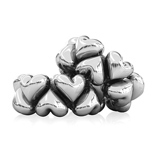 Authentic BELLA FASCINI Puffed Heart Spacers - Set of 2 - Sterling Silver - Fits Bead Charm Bracelets