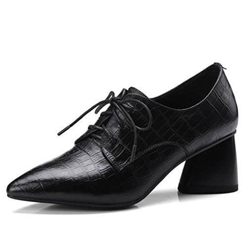 RLYAY Zapatos De Mujer Zapatos De Tacón Alto con Punta Estrecha Bombas Zapatos De Tacón Grueso Zapatos Informales Zapatos De Carrera De Trabajo de 6 Cm Negro Black