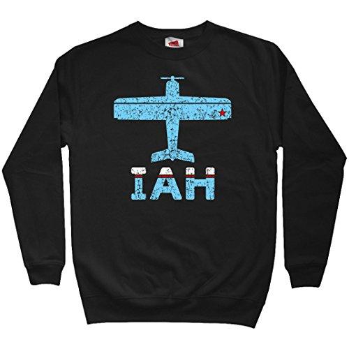 Smash Vintage Men's Fly Houston IAH Airport Sweatshirt - Black, - Shops Iah Airport