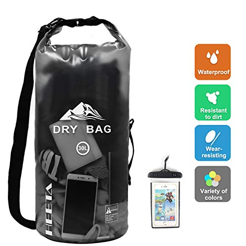 HEETA Waterproof Dry Bag for Women Men, Roll Top Lightweight Dry Storage Bag Backpack with Phone Case for Travel, Swimming, Boating, Kayaking, Camping and Beach, Transparent Black 30L (Best Dry Bags For Camping)