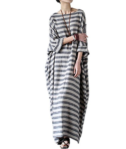 Cotton And Linen Striped Dress - 6