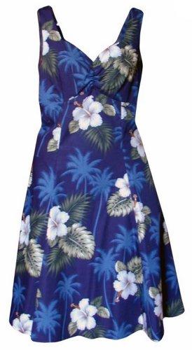 Pacific Legend Womens White Hibiscus Monstera Empire Short Sundress in Blue - (Poplin Empire Dress)