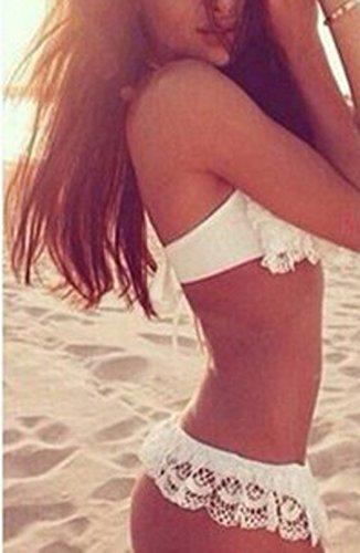 Due Bikini Beachwear Beachwear da Pizzo Bianco Pezzi Schienale Donna Costumi Swimwear Bagno Halterneck Senza Sexy Swimsuits Iqx4Cn1wnH