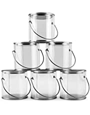 """Mini Clear Plastic Paint Cans (6-Pack), 3-Inch Tall""""Miniature"""" Arts, Crafts and Party Favor Cans"""