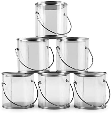 "Mini Clear Plastic Paint Cans (6-Pack), 3-Inch Tall""Miniature"" Arts, Crafts and Party Favor Cans; NOT for Liquids OR Heavy Objects"