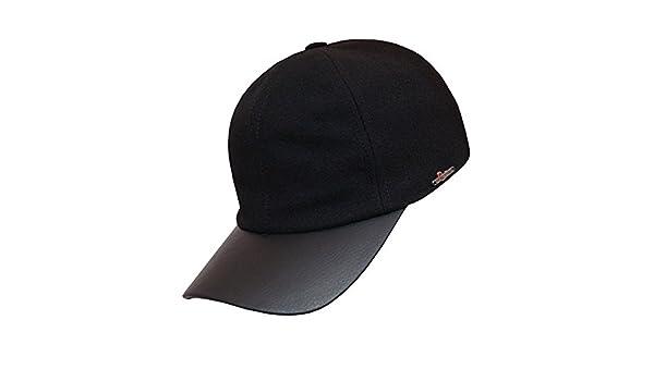 c1dc30c5c10 Wigens Alex Leather Peak Baseball Cap-Black-64 at Amazon Men s Clothing  store