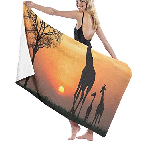 Beach Bath Towel Silhouette of Giraffe with Reflection in Water Personalized Custom Women Men Quick Dry Lightweight Beach & Bath Blanket Great for Beach Trips, Pool, Swimming and Camping 31