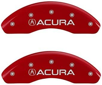 MGP Caliper Covers 39012SILXRD 赤 Powder Coat Finish Acura/ILX Engraved Caliper Cover with 銀 Characters Set of 4 [並行輸入品]