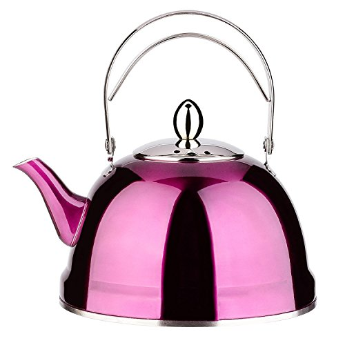 (Tea Pot with Infuser Loose Tea for Stove Top 18/10 Stainless Steel Coffee Kettle 8 Cup Quick Boil Sturdy Teapot Hot Water Mirror Finish 2 Liter / 2.1 Quart 68 Ounce (Purple) by Onlycooker)