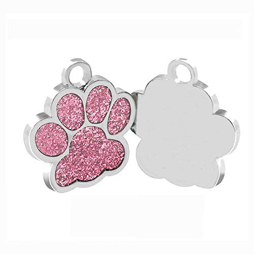 Cutepaw Stainless Pet Tags Personalized Pet ID Tags for Cats Puppy Dogs Engraved Glitter Paw Customized Kitten ID Tag Pink