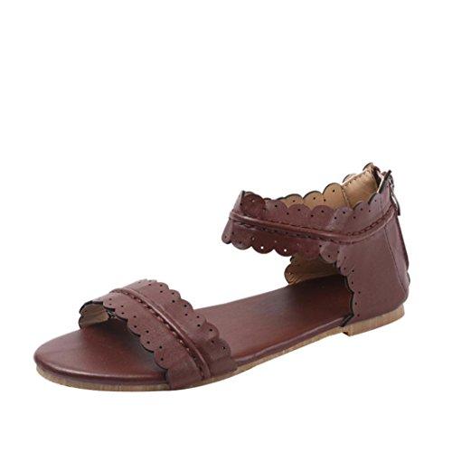 - Sandals for Womens, FORUU Solid Ruffles Round Toe Flat Heel Zipper Rome Shoes (7, Coffee)