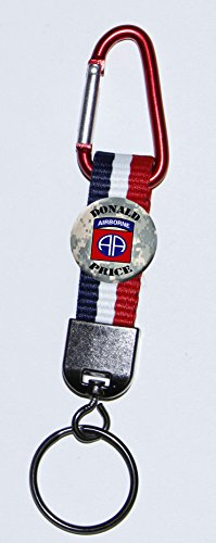 Buttons by Doug Personalized 82nd Airborne Carabiner Key ring with patriotic strap and ()