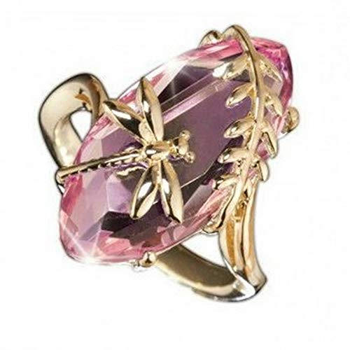 Campton Women 18K Gold Plated Huge Pink Sapphire Dragonfly Ring Wedding Gift Size 6-10 | Model RNG - 11919 | 7
