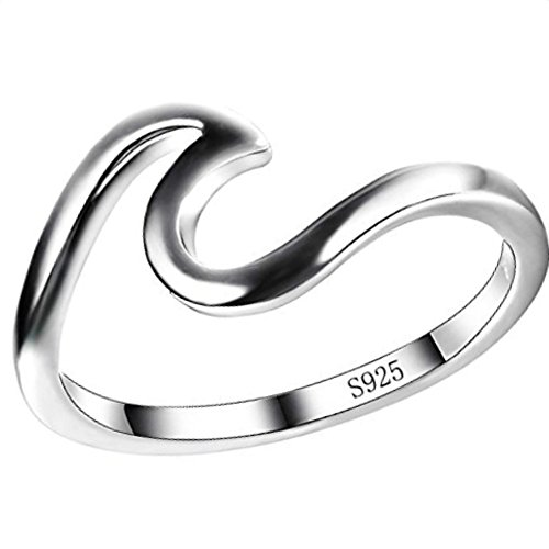 Silicone Wave (LEECCO 925 Sterling Silver Wave Rings Special Gift for Women Girls,size 10)
