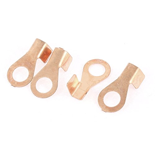 60A 8.5mm Stud Bare Copper Ring Terminal Wire Connector 4 Pcs ()