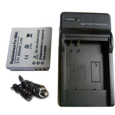 NEW Battery + Charger for Canon Digital CB-2LV E 2LVE IXUS 30 40 50 55 60 65 75 NB-4L NB4L + car plug ()