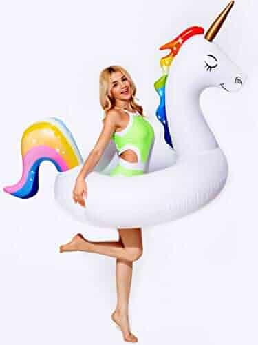 dreambuilderToy Giant 5ft Inflatable Unicorn Pool Float Unicorn Ring Swim Unicorn Tube Fun Party Toy Adult Kid