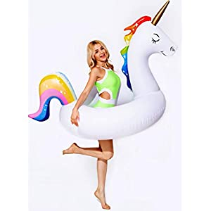 dreambuilderToy Giant 5ft Inflatable Unicorn Pool Float Unicorn Ring Swim Unicorn Tube Fun Party Toy Adult Kid