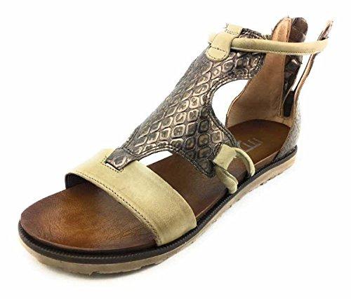 Mjus Damen Sandaletten beige-kombi (braun) 255018-0101-0005 Silber