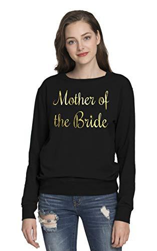 (PINJIA Womens Bride Bachelorette Sweatshirts Long Sleeve Shirt (Sweater XL,Black Mother of The)