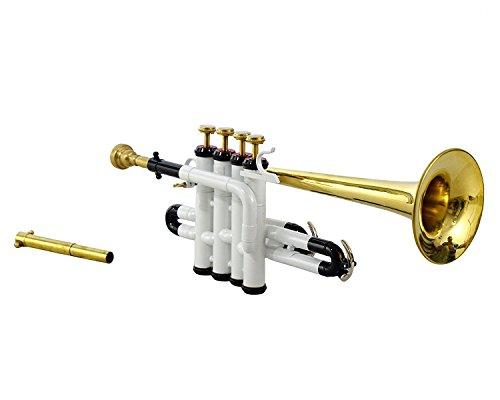 Picollo Trumpet Bb Pitch With Free Hard Case And Mouthpiece, White Color + Brass by SAI MUSICAL