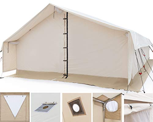 White Duck Outdoors Complete Canvas Wall Tent with Heavy Duty Aluminum Frame, Angle Kit and PVC Floor for Elk Hunting, Outfitter and Camping