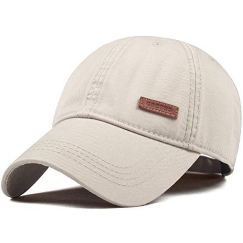 CACUSS Men's Cotton Dad Hat Classic Baseball Cap With Adjustable Buckle Closure,Golf Cap(Beige)