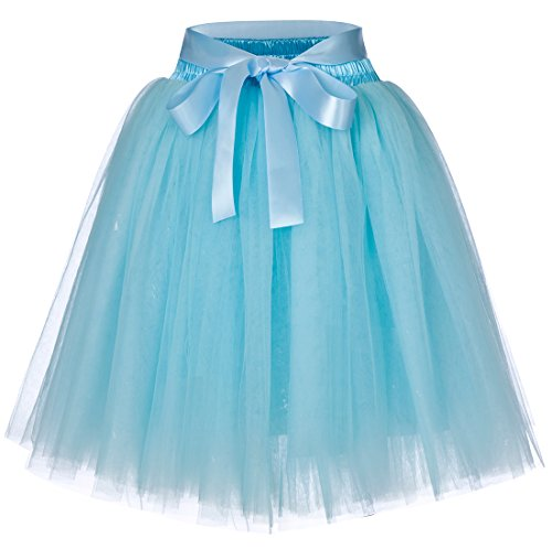 Women's High Waist Princess Tulle Skirt Adult Dance Petticoat A-line Wedding Party Tutu(Sky blue) ()