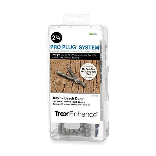 - Pro Plug PVC Plugs and Epoxy Screws for Trex Beach Dune Decking, 85 Plugs for 20 sq ft, 75 Epoxy Screws