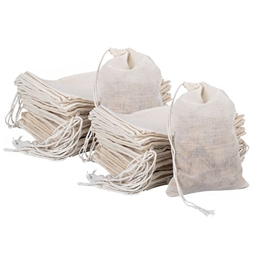 Pangda 100 Pieces Drawstring Cotton Bags Muslin Bags (4 x 6 Inches)