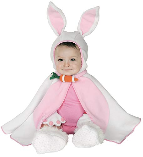 Bunny Rabbit Halloween Costume Baby (Rubie's Baby Girl's Caped Cutie Lil' Bunny Costume, Pink/White, 6-12)