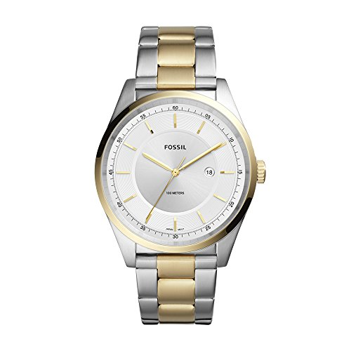 Fossil Gold Mens Bracelets - Fossil Men's Mathis Quartz Watch with Stainless-Steel Strap, Gold, 21 (Model: FS5426)