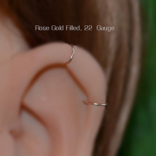 a4149cbef ... Small Nose Ring - Gold Nose Hoop - Tragus Earring - Cartilage Hoop -  Forward Helix ...