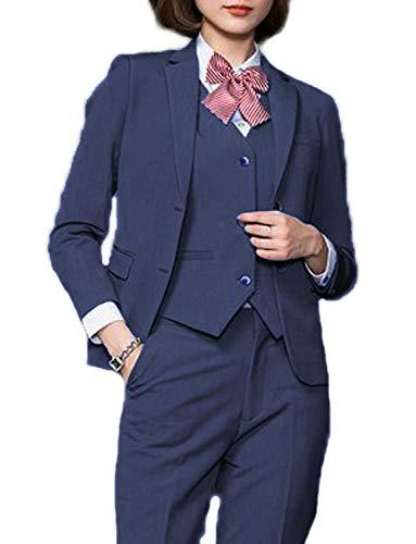 (JYDress Women's Multicolor 3 Piece Elegant Business Office Lady Suit Set for Work Dark Blue)