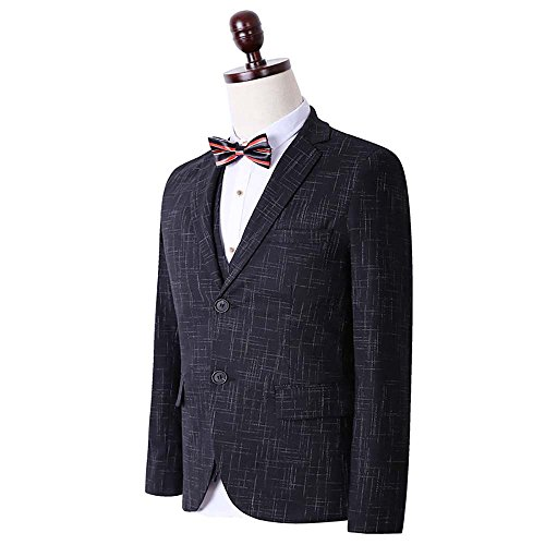 Men's Plaid Modern Fit 3-Piece Suit Blazer Jacket Tux Vest & Trousers