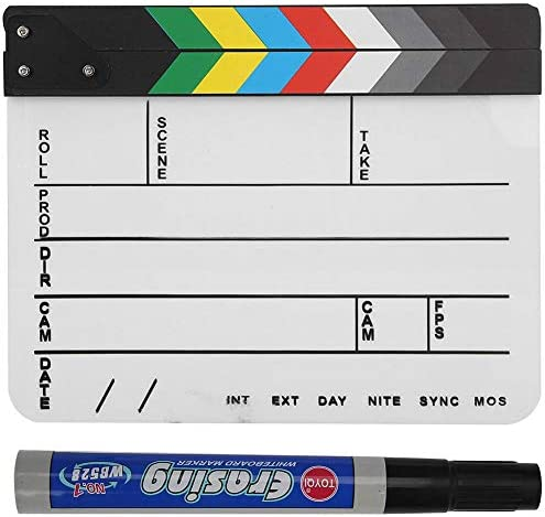 Director Cut Action Scene Clapperboard with a Custom Dry Erase Pens for Shoot Props//Advertisement//Home Decoration//Cosplay//Background Bewinner Acrylic Clap Board Movie Film Clapboard Color//White