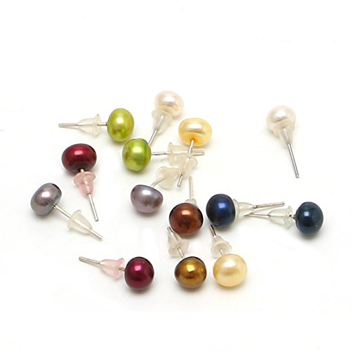 - Niceskin Round Pearl Bead Earring for Women, 7 Pairs, Imitation Pearl