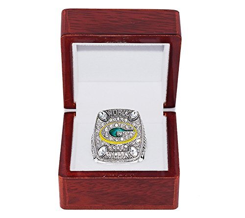 GREEN BAY PACKERS (Aaron Rodgers) 2010 SUPER BOWL XLV WORLD CHAMPIONS Rare & Collectible High Quality Replica NFL Football Silver Championship Ring with Cherrywood Display Box