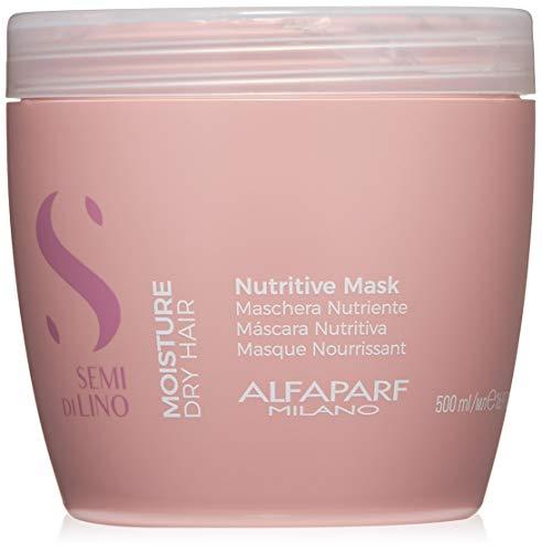 Semi Di Lino Shine Mask - Alfaparf Milano Semi Di Lino Moisture Nutritive Mask for Dry Hair - Safe on Color Treated Hair - Sulfate, SLS, Paraben and Paraffin Free - Professional Salon Quality