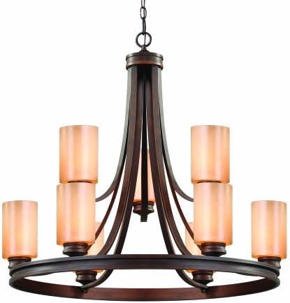Golden Lighting 1051-9 SBZ Hidalgo Chandelier, Fixture Size 32-Inch W 30-Inch H, Sovereign Bronze