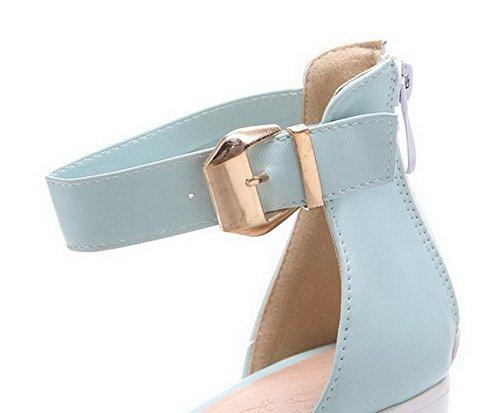 Ouverture Couleur Femme Cuir Petite Bleu Unie Zip Haut à Talon Clair TSFLG005090 Sandales PU AalarDom UgqzYqW