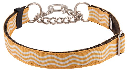 Country Brook Design Gold Wave Grosgrain Ribbon Half Check Dog Collar - Extra Large