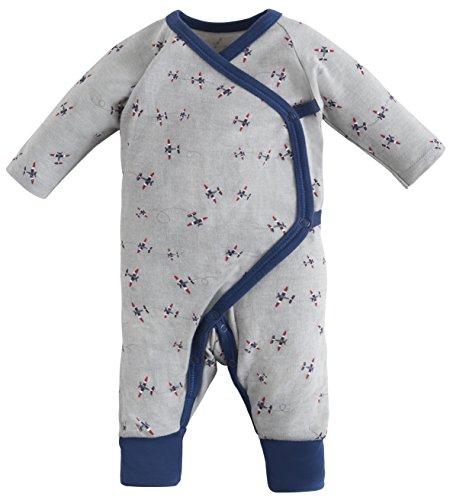 (Under the Nile Organic Cotton Baby Boy Airplane Printed Long Sleeve Side Snap Kimono , 03 Months , Twilight Plane Print )