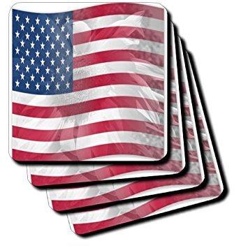 3dRose cst_41185_3 Sunflower USA Flag-America-Patriotic-Ceramic Tile Coasters, Set of 4